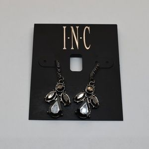 INC Hematite - Tone Stone & Crystal Drop Earrings